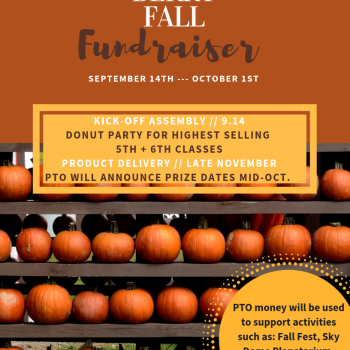 Fall themed flyer with information regarding the fundraiser.