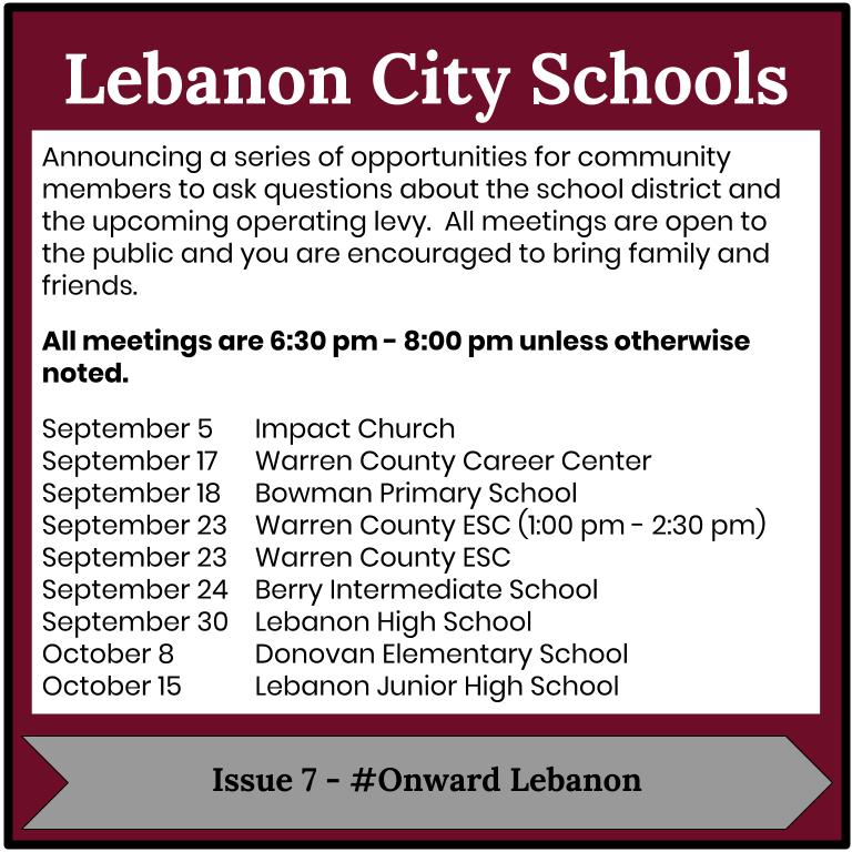 Levy Meetings schedule