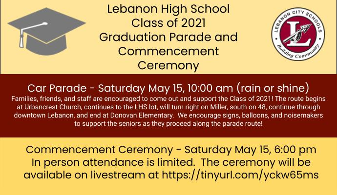 Information for Class of 2021 graduation