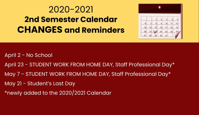 calendar dates for students