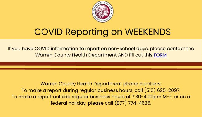 slide with information on how to report covid