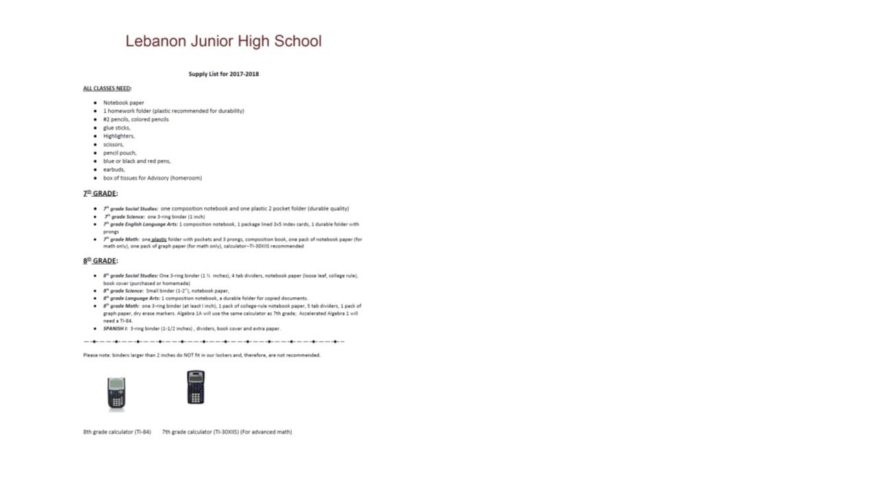 17 18 School Supply List