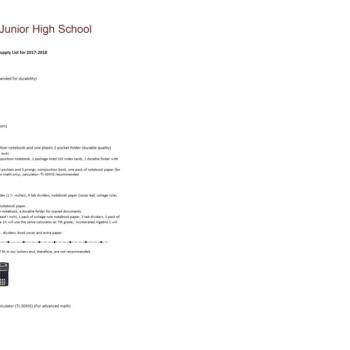 List of School Supplies