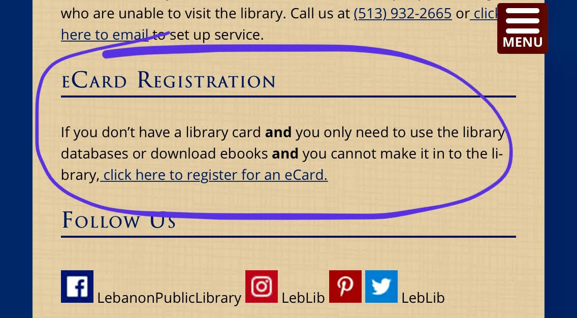 Where to find online application for library card