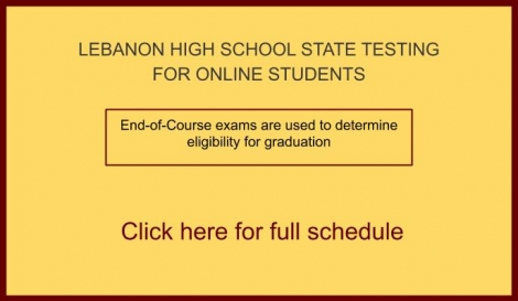 picture of text saying click for information for state testing