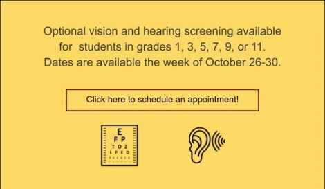 Picture of text to sign up for vision and hearing screening